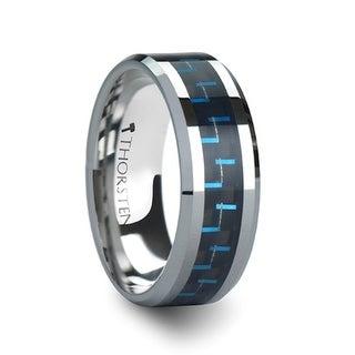 THORSTEN - AUXILIUS Tungsten Carbide Ring with Black  Blue Carbon Fiber Inlay