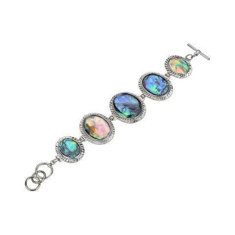 Sterling Silver with Abalone Shell Link Bracelet