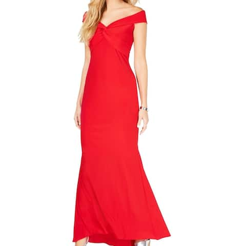 Xscape Women's Dress Bright Red Size 14 Off Shoulder Twist Front Gown