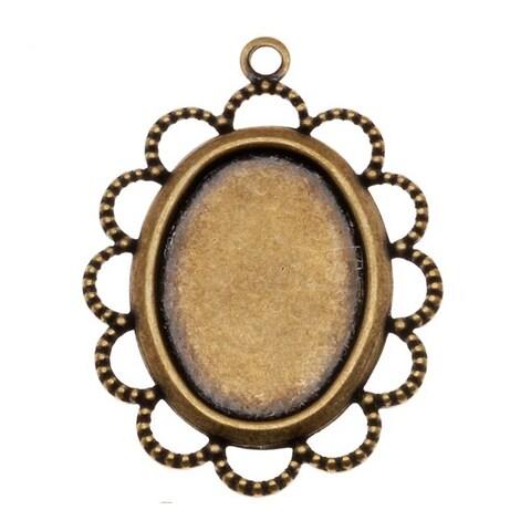 Antiqued Brass Oval Bezel Pendant With Beaded Floral Edge 13x18mm (4)