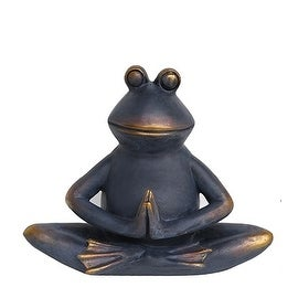"12"" Charcoal Black and Bronze Tranquilly Meditating Yoga Frog Outdoor Patio Garden Statue"