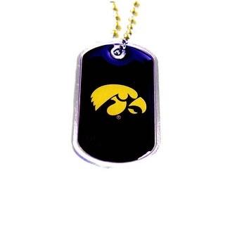 Iowa Hawkeyes Dog Tag Domed Necklace Charm Chain NCAA
