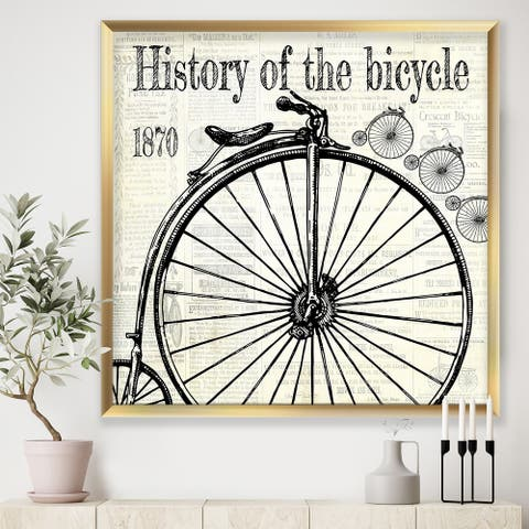 Designart 'History of The Bicycle-D' Traditional Framed Art Print
