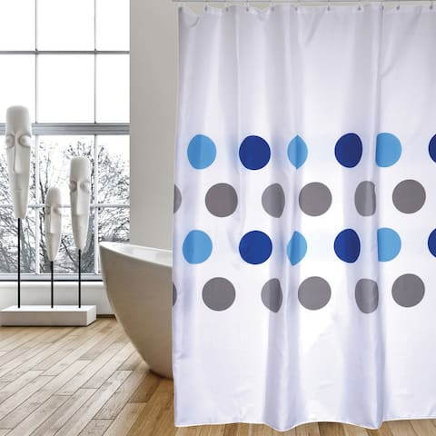 Extra Long Shower Curtain 72 x 78 Inch MSV France Polyester Fabric Polka Dot Blue And Gray
