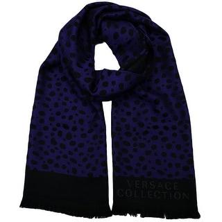 Versace SC56 STCK 002 Purple/Black 100% Wool Mens Scarf