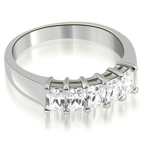 1.60 cttw. 14K White Gold Prong Set Emerald Cut Diamond Wedding Band