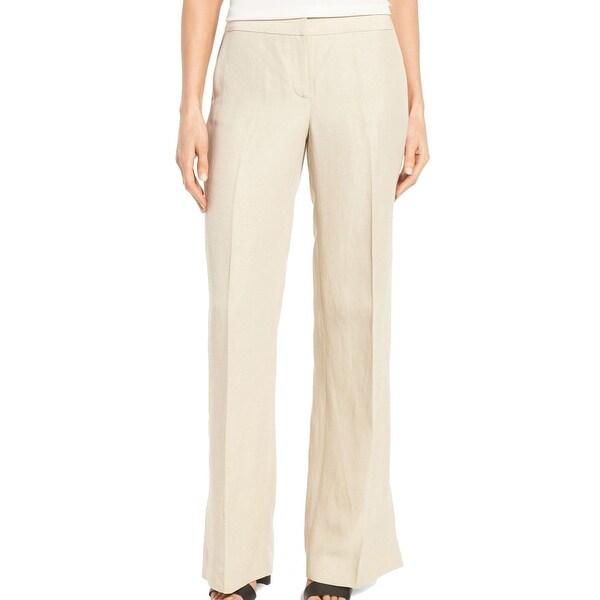 Classiques Entier Solid Beige Women's Size 6 Flare Dress Pants