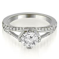 0.80 cttw. 14K White Gold Prong Set Round Cut Diamond Engagement Ring