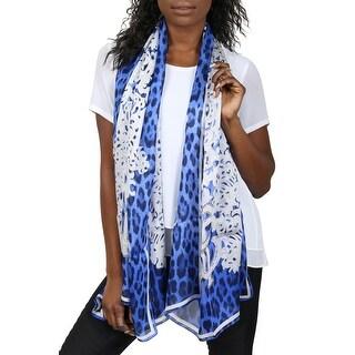 Roberto Cavalli C3802B670 320 Blue Animal Print Silk Chiffon Scarf - 27-71