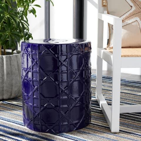 SAFAVIEH Puma Indoor/ Outdoor Navy Blue Ceramic Decorative Garden Stool