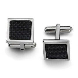 Chisel Black Carbon Fiber Polished Stainless Steel Cuff Links