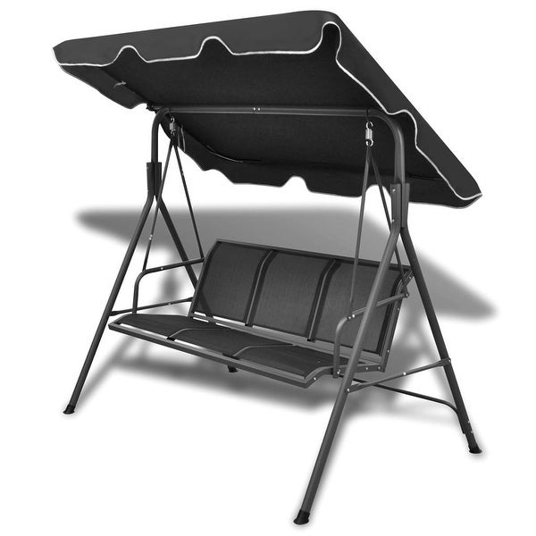 vidaXL Garden Swing 3-Seater Black Patio Outdoor Canopy Hammock Chair Sofa