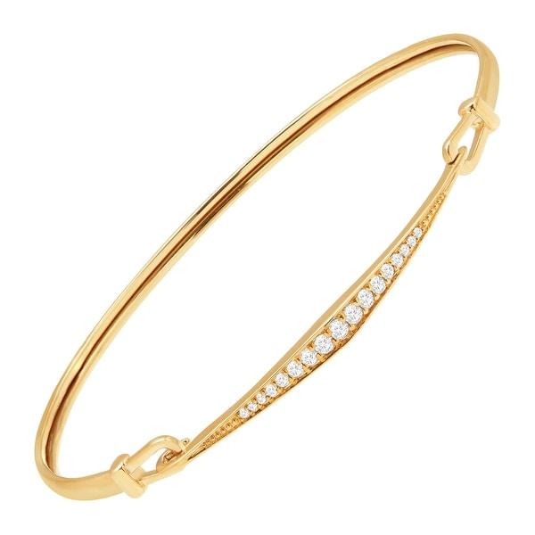 1/5 ct Diamond Hinged Bangle Bracelet in 14K Gold