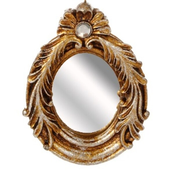 "4.5"" Distressed-Finish Antique Gold Glitter Oval Mirror with Scroll Accents Christmas Ornament"