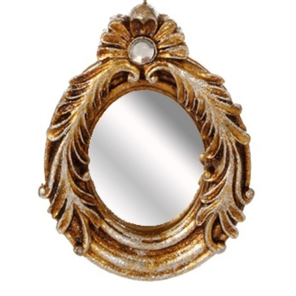 """5.25"""" Distressed-Finish Antique Gold Glitter Finial Mirror with Scroll Accents Christmas Ornament"""