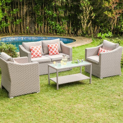 Cosiest 4-piece Cushioned Sectional Sofa Patio Set