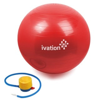 Ivation Exercise Ball for Fitness (Red)