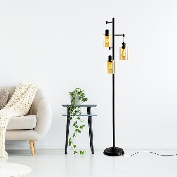 Verre 3-Head Amber Glass Floor Lamp. Opens flyout.