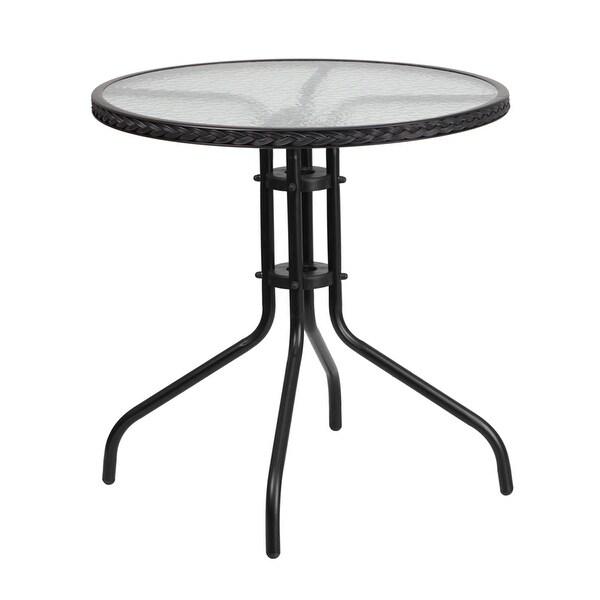 Circular Lawn Edging: Shop Skovde Round 28'' Tempered Glass Metal Table Black
