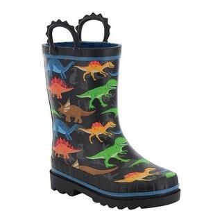 Western Chief Boys' Dino World Rain Boot Black
