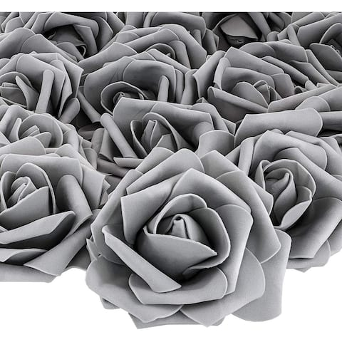 """100 Pack 3"""" Grey Rose Fake Flower Heads for DIY Crafts, Weddings and Decor"""