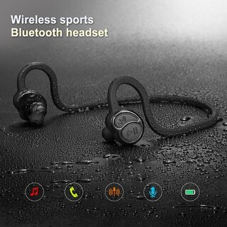 Sports waterproof Wireless Bluetooth Sweatproof Headset Stereo Sports Earpiece Headphone,color Black