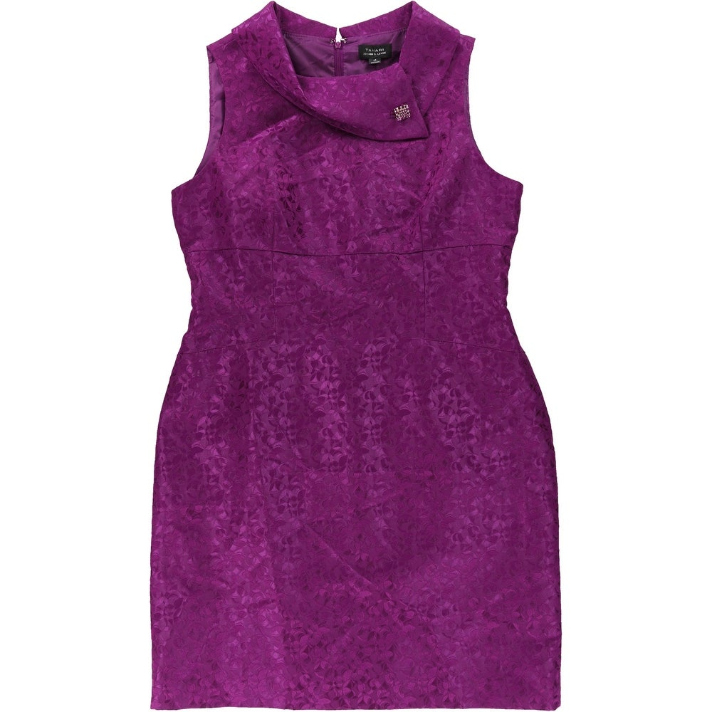 Tahari Women/'s Belted Glitter Mesh Overlay Dress