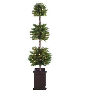 6' Pre-Lit Potted Triple Ball Artificial Christmas Topiary Tree - Clear Lights