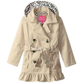 Pink Platinum Girls 2T-4T Double-Breasted Belted Trench Coat - KHAKI