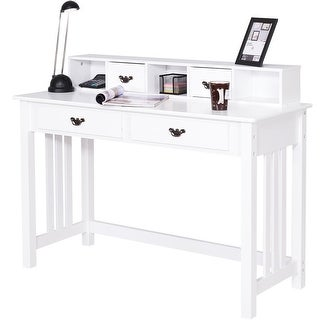 home office writing desk. Costway Writing Desk Mission White Home Office Computer 4 Drawer G