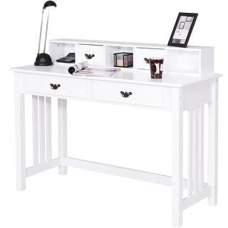 home office desk white. Costway Writing Desk Mission White Home Office Computer 4 Drawer
