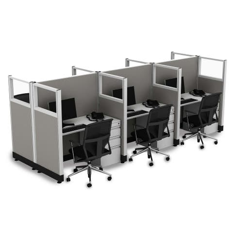 Cubicle Workstations 53H 6pack Cluster Powered