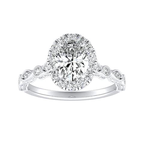 Auriya Platinum 1 1/3ctw Vintage Oval-cut Halo Diamond Engagement Ring