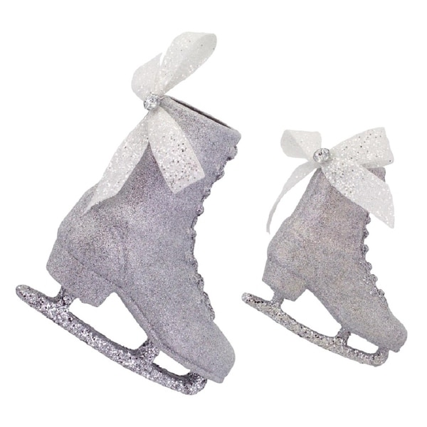 Club Pack of 12 Silver and Glittered Decorative Ice Skate with White Bow Christmas Ornaments 8.5""