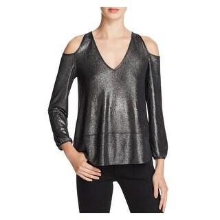 Aqua Womens Casual Top Cold Shoulder Metallic