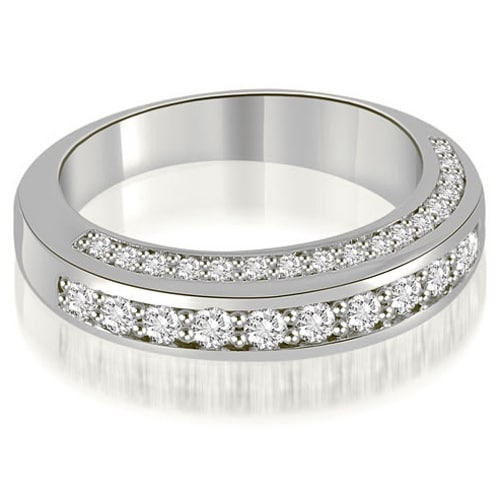 0.75 cttw. 14K White Gold Elegant Round Cut Diamond Wedding Ring