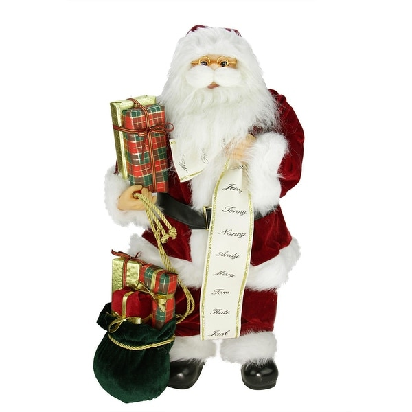 """24"""" Traditional Standing Santa Claus Christmas Figure with Name List and Gift Bag - RED"""