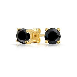 Bling Jewelry Black Round CZ Gold Plated Studs 925 Silver 6mm