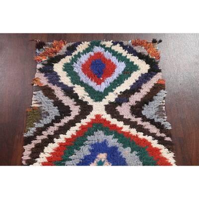 "Geometric Moroccan Oriental Staircase Runner Rug Handmade Wool Carpet - 2'6"" x 6'10"""