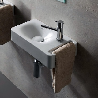 """Link to Nameeks 1513 Scarabeo 15-3/5"""" Ceramic Bathroom Sink For Wall Mounted - White / One Hole Similar Items in Sinks"""