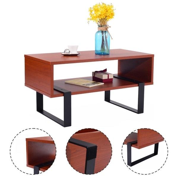 Costway Coffee End Table Wood And Metal Modern Living Room Furniture W/ Storage  Shelf