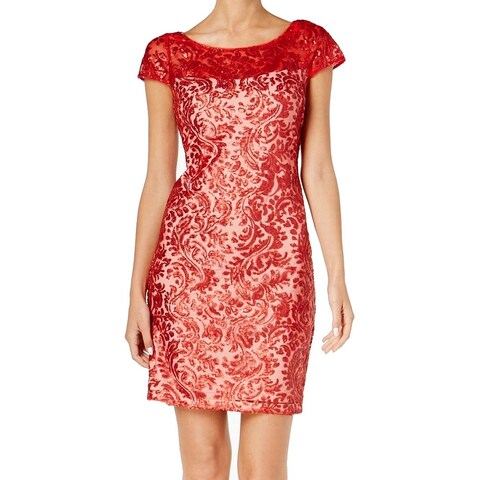 Calvin Klein Red Womens Size 6 Sequin Lace Illusion Sheath Dress