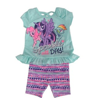 "Hasbro Little Girls Mint ""Sparkle All Day"" Pony Print 2 Pc Shorts Outfit"