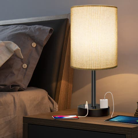 USB Table Lamp, Touch Control Desk Lamp with Ports - Grey - M