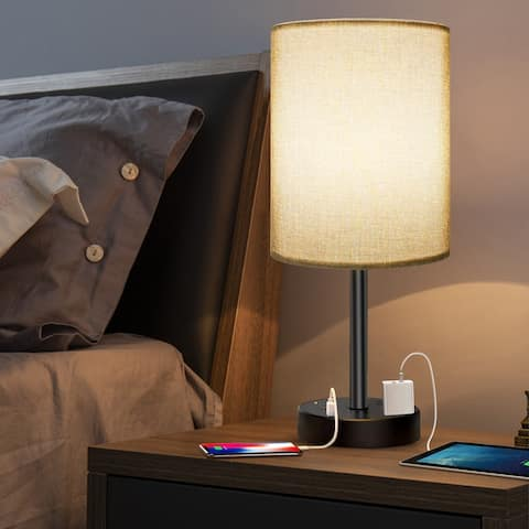 USB Table Lamp with Shade for Bedroom Living Room - Grey - M