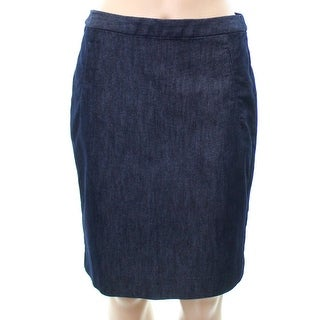 Halogen Blue Women's Size 6P Petite Chambray Denim A-Line Skirt