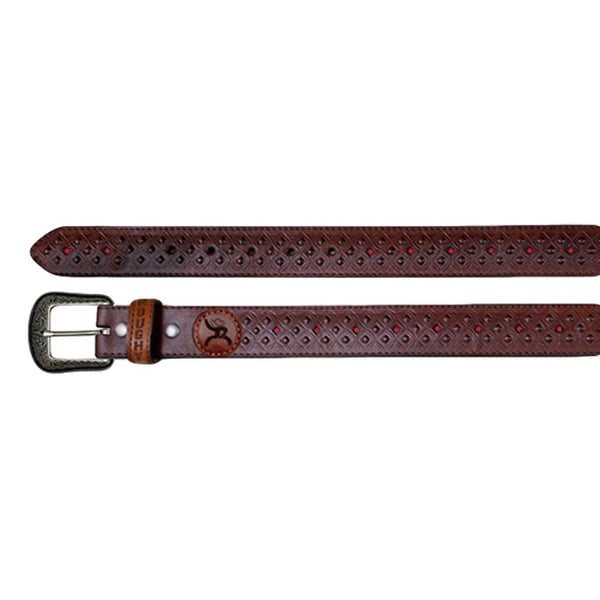 HOOey Western Belt Mens Diamond Cut Outs Roughy Leather Brown