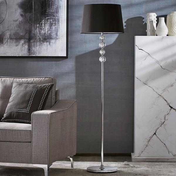 Quinn Black Shade 1-light Chrome Floor Lamp by iNSPIRE Q Modern. Opens flyout.