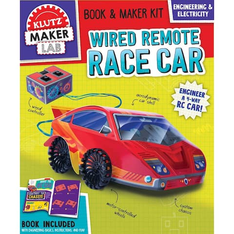Klutz Maker Lab Racecar Kit - DIY Wired Remote Controlled 4-Way Race Car Building S.T.E.M Contruction Set Toy
