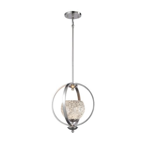 Woodbridge Lighting 13923STN-WHT 1 Light Adjustable Height Foyer Pendant with Satin Nickel Finish and White Mosaic Glass from
